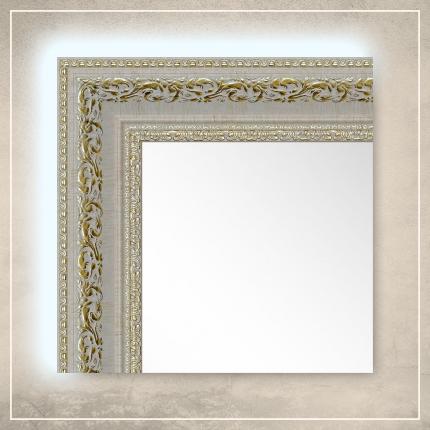 LED taustavalgusega peegel Amara valge/kuldse raamiga